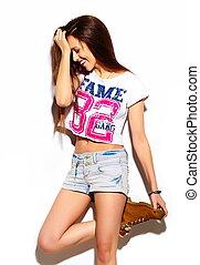 tissu, look., hipster, lèvres, mode, fascination, beau, élevé, modèle, été, femme, rouges, coloré, clair, élégant, jeune