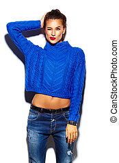 tissu, look., hipster, lèvres, mode, fascination, beau, élevé, modèle, chandail, femme, rouges, bleu, élégant, jeune