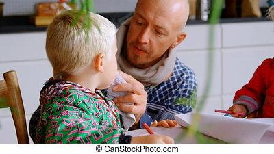 tissu, maison, sien, bouche, père, essuyer, fils, serviette,...