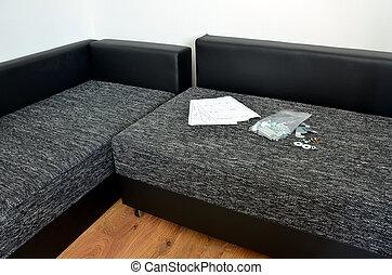 tissu, noir, moderne, montage, sofa, blanc