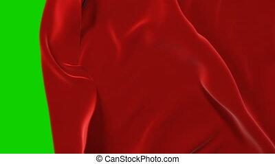 tissu, ouverture, loin, transition, masque, screen., onduler, tissu, rouges, animation, vert, arrière-plan., alpha, 3d, en mouvement, ultra, résumé, hd, 4k