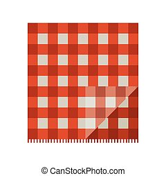 tissu, pique-nique, rouges