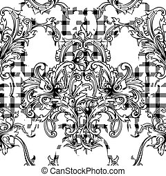 tissu plaid, modèle, ornament., seamless, éclectique,...