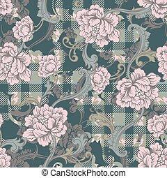 tissu plaid, modèle, ornament., seamless, éclectique, baroque