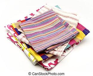 tissu, plusieurs, coloré, serviettes
