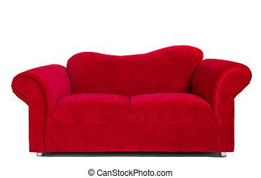 tissu rouge, moderne, sofa