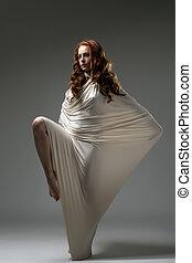 tissu, roux, moderne, femme, poser, dance.