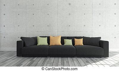 tissu, sofa, mur, béton, fond, noir, gabarit, conception