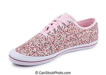 tissu, une, chaussure, isolé, désinvolte, modèle, blanc, rose, floral, fond, espadrilles, fibre