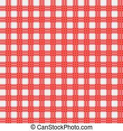 tissu, vecteur, pique-nique, rouges