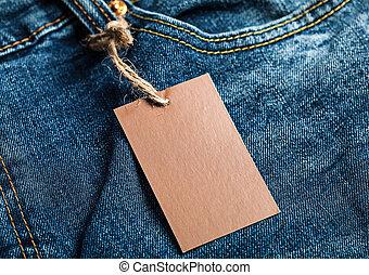 tissu, vide, étiquette, brun, mockup