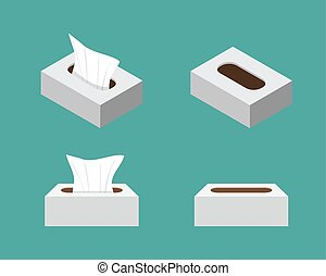 Tissue box icons in flat style, vector design