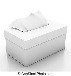 Tissue box isolated on white background 3d illustrator