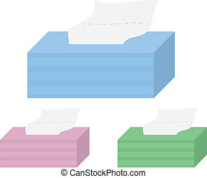 Tissue Boxes - Isolated cartoon tissue boxes in a few colors
