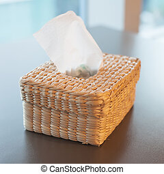 tissue paper box on the blue background
