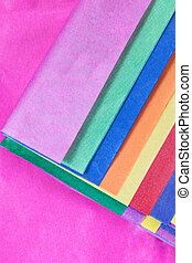 Close up of coloured tissue paper