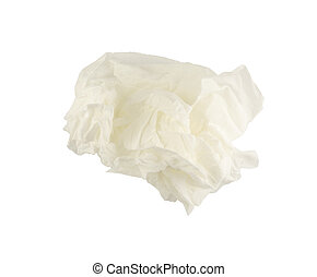 crumpled tissue paper on white background.