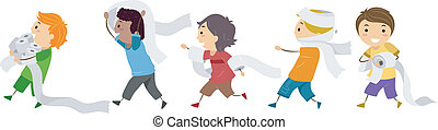 Tissue Paper Prank - Illustration of Kids Playing with ...