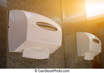 Tissue paper role in toilet on cement wall, Tissue paper box, Tissue paper towel.