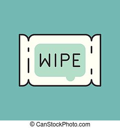 Tissue paper wipe, Filled outline icon