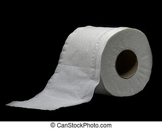 Tissue paper with roll core. Roll of toilet paper isolated on a black background.