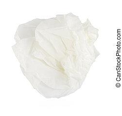 Tissue - crumpled tissue paper on white background.