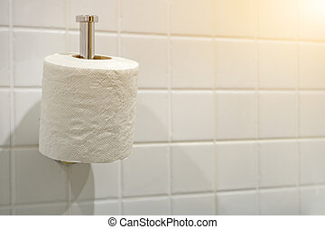 Tissue with white background in the bathroom