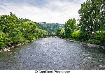 Tisza river in Rakhiv, Ukraine. beautiful landscape in...