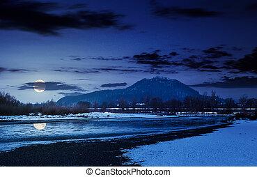 Tisza river in winter at night in full moon light....