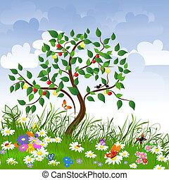 tisztás, gyümölcs, virág, bitófák