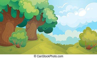 tisztás, játék, erdő, háttér