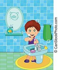 tisztítás, csinos, fehérnemű, fiú, kevés, fog, mosolygós