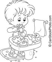 tisztítás, gyermek, övé, fog