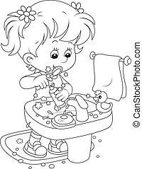 tisztítás, gyermek, fog