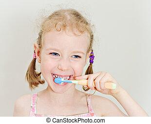 tisztítás, kevés, neki, toothbrush., fog, leány