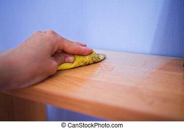 tisztító, fényesít, berendezés, alatt, a, nappali