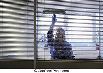 tisztító, nő, munka, hivatal, törlés, mosópor, ablak jó, női...