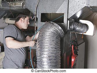 tisztító, szerszám, munka, ventiláció, ember