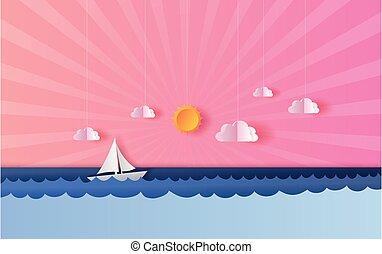 tiszta égbolt, úszó, summertime idő, hajó, lenget, háttér., kilátás, vektor, vitorlázás naplemente, gyönyörű, kék, tenger, dolgozat, táj, csónakázik, surface., művészet, rózsaszínű, 3, évad, kilátás a tengerre, illustration.