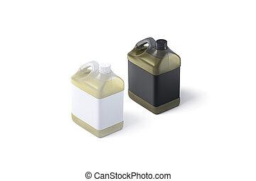 tiszta, dobozba csomagol, mockup, fekete, fehér, műanyag, olaj, címke