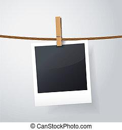 tiszta, fénykép keret, képben látható, odaköt
