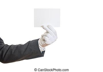 tiszta, gloved, kártya, hatalom kezezés