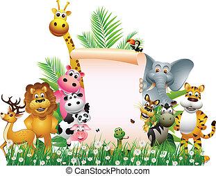 tiszta, karikatúra, állat, aláír