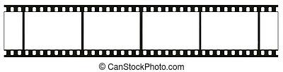 tiszta, magasan, részletes, tényleges, 35mm, black-and-white, negatív, film, keret, film, gabona, leporol, és, csiszol, látható, elszigetelt, white, háttér