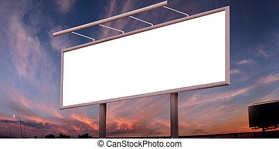 tiszta, nagy, hirdetőtábla, felett, naplemente ég