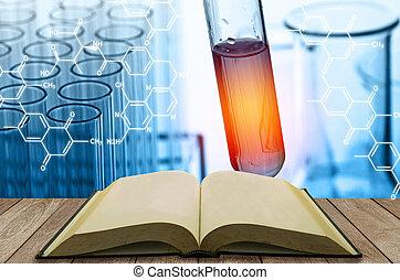 tiszta, nyitott könyv, noha, tudomány, laboratórium teszt, csövek, háttér