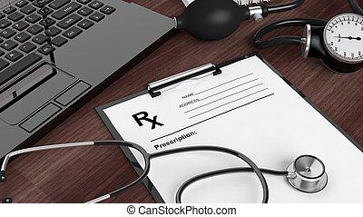 tiszta, recept, forma, orvosi felszerelés, és, laptop,...