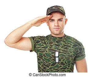 tiszteleg, hadsereg, fiatal, katona