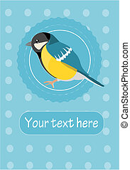 Tit on blue background - illustration with place for your text.