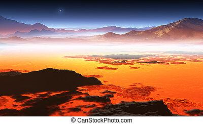 Titan, largest moon of Saturn. 3d illustration